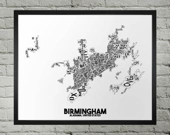 Birmingham Alabama Neighborhood Typography City Map Print
