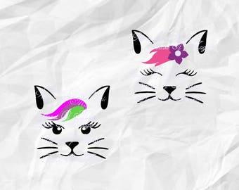 Cat Face SVG File, Cat Head Svg, Cat Svg, Cute Cat DXF, Cat Silhouette, Files for Cricut