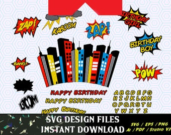 Birthday Party SVG Print & Cut, and Super Hero Logos Craft Cutters, Party Backdrop Cutting Files, Svg  Cutting Files, Svg Font, Svg Cut File