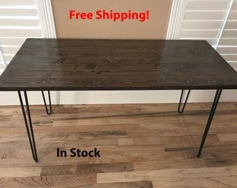 FREE SHIPPING! 24 x 54 Modern Industrial Table/Desk with Hairpin Legs