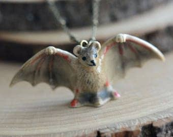 Hand Painted Porcelain Brown Bat Necklace, Antique Bronze Chain, Vintage Style, Ceramic Animal Pendant & Chain (CA257)