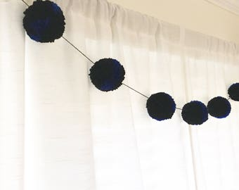 Thin Blue Line Pom Pom Garland - Black, Blue - Party Decorations - Thin Blue Line Collection