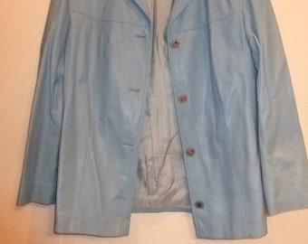powder blue 1970s pvc faux leather jacket  sz 16 vegan/vegetarian