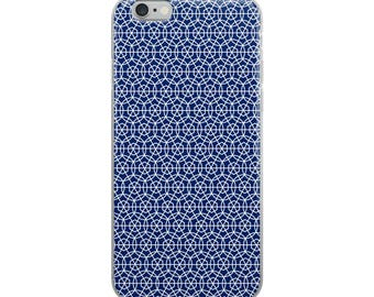 Blue iPhone case, original geometric hexagon and circle pattern design