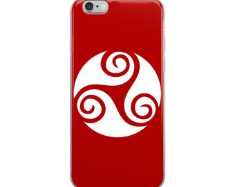 Red Celtic iPhone case, Celtic symbol with swirl pattern design in three parts