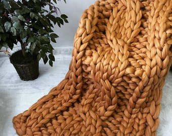 Chunky Cable Knit blanket, Cable Knit blanket, Chunky Knit Blanket, Arm Knit blanket,Giant Knit blanket,MERINO WOOL