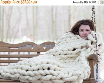 Chunky Knit blanket, Chunky Knit throw,Arm Knit Blanket,Merino Wool Blanket,Giant Knit blanket