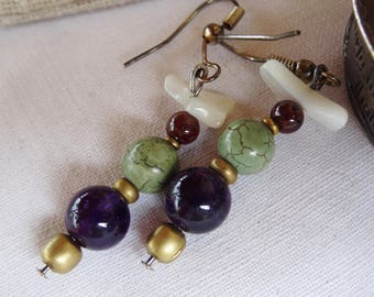 Nepal earrings Amethyst Jasper - holidays gift idea