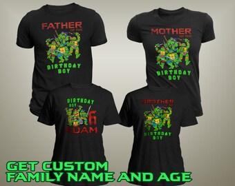 Teenage Mutant Ninja Turtles Birthday Shirt, TMNT Custom Shirt, Personalized TMNT Shirt, TMNT family shirts, Birthday t-shirt