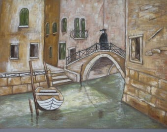 """Painting on linen Panel """"Carnival in Venice"""""""