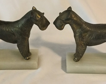 Antique Figural Airedale Terrier Dog On Onyx Base Bookends