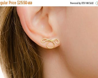 SALE - Easter Jewelry - Easter Bunny Gold Earrings - Easter Earrings - Bunny Stud Earrings