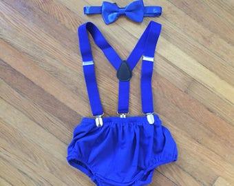 Cake Smash - Suspenders - Bow Tie - Diaper Cover Set