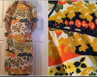 Vintage 1960s Original J&S Miss Creation Colorful Floral Midi Shift Dress Size 8