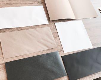 SALE- envelopes. DL & Square sizes. Kraft, metallic dark grey, black, kraft, white