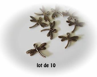 Set of 10 bronze dragonflies, bronze Dragonfly charms