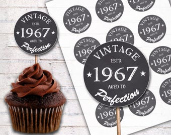 "50th Birthday Cupcake Toppers, 1967 Vintage Aged to Perfection Cupcake Toppers - 2.5"" 2"" Cupcake Toppers - Printable Instant Download - C006"
