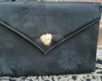 Vintage Envelope Style Evening Bag Clutch with Gold Crystal Clasp