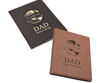 World's Best Dad Miniature Leatherette Portfolio - Personalized Leatherette Travel Notebook for Dad - Engraved Smart Covered Notepad for Dad