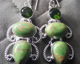 Copper Turquoise and Green Quartz Earrings !