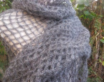 Charcoal crochet silk and MOHAIR scarf
