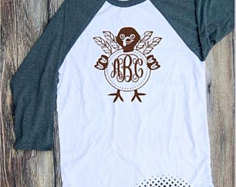 turkey monogram Tshirt Youth Kid Child Toddler Unisex Shirt Raglan Baseball T T-Shirt