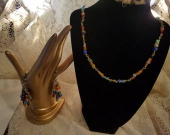 Wire Wrapped Beaded necklace/bracelet and earrings millefiori glass chips