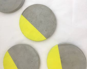 Set of 4 Sunshine segment concrete cement coasters