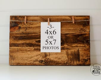 Rustic Wood Photo Board | Distressed Photo Frame | Wood Photo Display Board | Pallet Wood Frame | Farmhouse Home Decor MADE TO ORDER