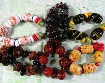 1 Chunky Handmade Lampwork Glass Bead Set (B425)