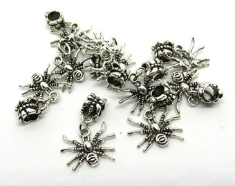 10 Antique Silver Spider Euro Style Charm Dangle Beads (B503b)