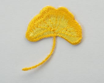 Yellow Ginkgo Leaf Embroidered Iron On Applique Patch DIY Sew-on