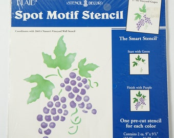 "Vintage Plaid Stencil Decor, Spot Motif Stencil 27702 Vineyard Grapes 9"""