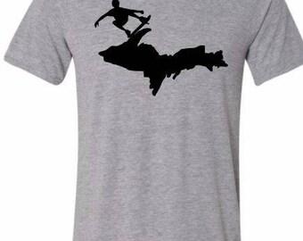 michigan skateboard shirt, grey, skateboard shirt, tshirt