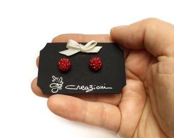 Crochet Earrings • Beaded earrings • Button earrings • Red earrings • Stud earrings • Christmas gift • Christmas gift
