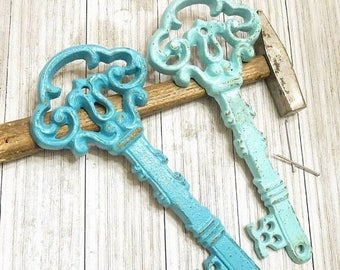Antique Skeleton Key - Large Key Wall Decor - Home Decor - Antique Keys -  Shabby Chic Wall Decor - Blue Home Decor - Key Wall Hanging