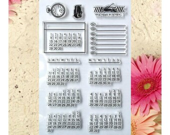 Clear Stamp Set- Transparent Rubber Stamp Kit-Seal Stamp Silicone-Planner Calendar Planning Monday Sunday Days of the Week Clock Clear Stamp