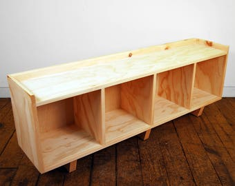 Four Cube Bench/Entertainment Center Finished/Unfinished Modern Minimalist Furniture