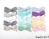 SMALL Spring Linen Evy bows - 15 colors -Baby Headband - Hand-Tied Hair Bow-Cotton Schoolgirl Bow-Hairbow-Nylon Headband - Toddler Hair Clip