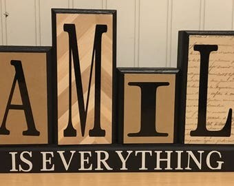 Family is forever/everything wooden blocks
