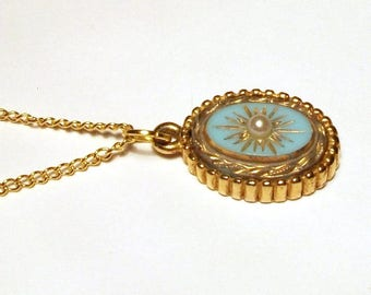 Vintage gold pendant etsy turquoise gold pendant victorian revival vintage starburst pearl necklace oval locket style mozeypictures Image collections