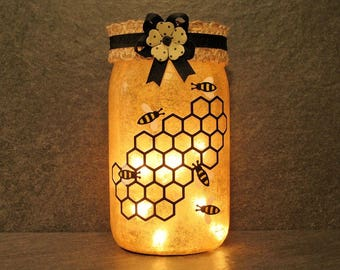 Honey Bees Mason Jar Light,  Country Decor. Summer Centerpieces. Gifts For Bee Keepers.