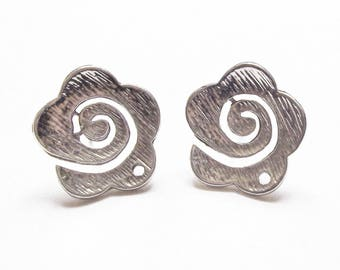 Pair of flower connector 21 mm silver plated earrings