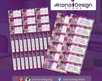 Printable and personalized Doc Mcstuffins name tags - Doc Mcstuffins school stickers - Doc Mcstuffins Labels