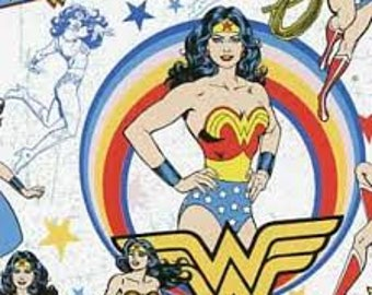 "Wonder woman on white flannel fabric, By the Half Yard, 42"" wide, 100% cotton - dc comics - WW fabric - superhero fabric"