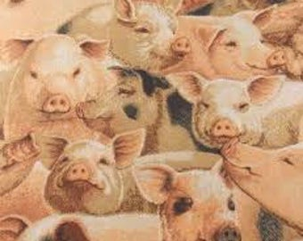 "Pigs Allover by Fabric traditions, by the half yard, 44"" wide, 100% cotton - novelty fabric - animal fabric - pig fabric"