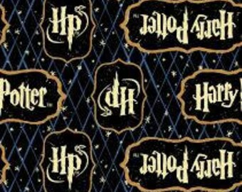 """Harry Potter Words on black fabric by camelot fabrics, by the half yard, 43"""" wide, 100% cotton, HP fabric, Harry Potter fabric, movie fabric"""