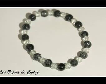 Black/gray and transparent glass bead Stretch Bracelet