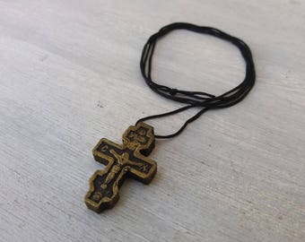 Wooden Cross, Cross Necklace, Wood Necklace, Wood Cross Pendant, Christian Necklace, Catholic Jewelry, Catholic Cross,Mens Cross Necklace