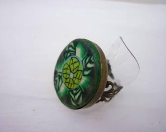 green leaves adjustable ring unique handmade